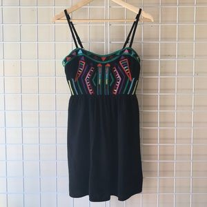 Staring at Stars Dresses - Black Embroidered Linen Dress - Urban Outfitters